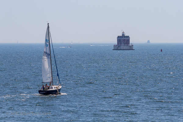 New London Ledge Light with Race Rock Light in the background.