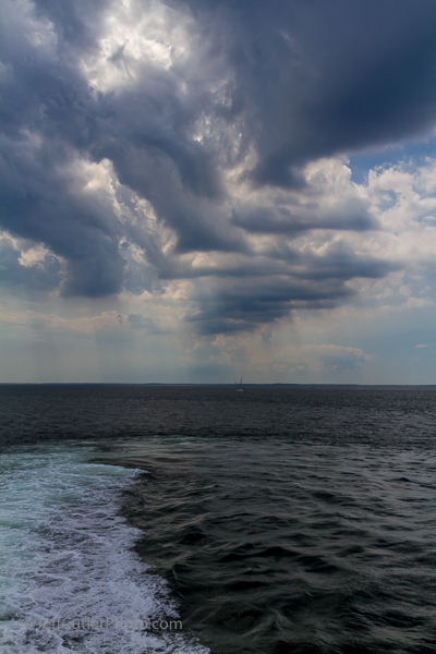 We faced a storm, but got away without a drop of water falling on the deck. Weather can change quickly in the Long Island Sound.